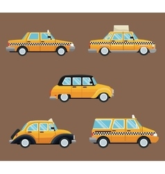Set different taxi car side view vector