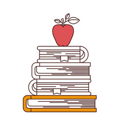 Silhouette color sections of stack of books with vector