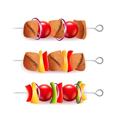 Skewers of different ingredients isolated vector image vector image