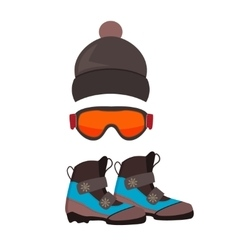 Ski gloves and skiing goggles vector image vector image