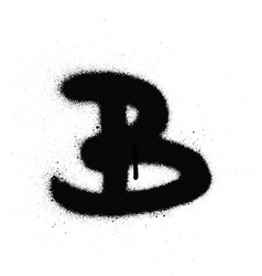 sprayed b font graffiti with leak in black vector image vector image