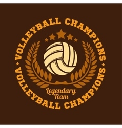 Volleyball championship logo with ball - vector