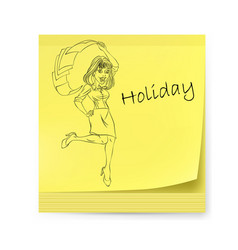 Yellow sticker with business woman and holiday vector