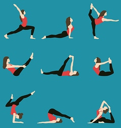 yoga Yoga set Yoga exercises Women yoga Yoga vector image vector image