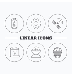 Worker minerals and gps satellite icons vector