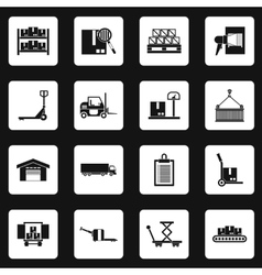 Warehouse and storage icons set simple style vector