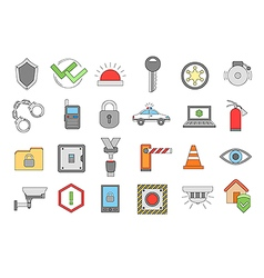 Security system colorful icons set vector