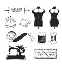 Set of vintage tailor labels emblems and designed vector