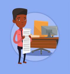 businessman holding long bill vector image