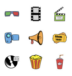 film icons set cartoon style vector image