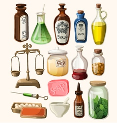 Set of vintage apothecary and medical supplies vector
