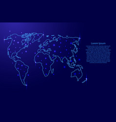 Map of the world from the contours blue vector