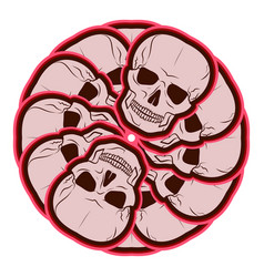 Circular pattern of skulls emblem vector