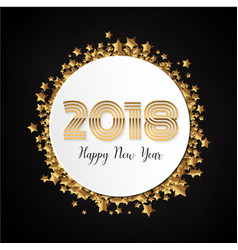 Gold celebration 2018 new year label background vector