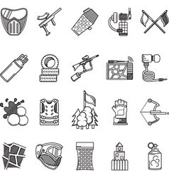 Black line icons collection for paintball vector
