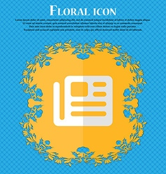 Book newspaper floral flat design on a blue vector