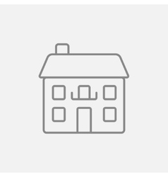 Two storey detached house line icon vector
