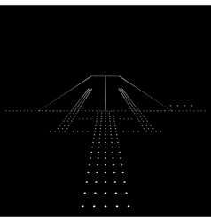 Luminous night landing lights airport vector