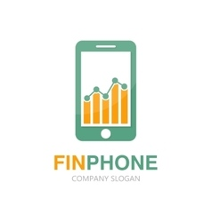 Logo combination of a graph and phone vector