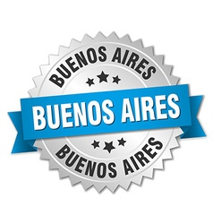 Buenos aires round silver badge with blue ribbon vector