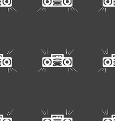 Radio cassette player icon sign seamless pattern vector