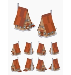 A-frame wooden house vector