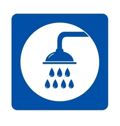 blue shower head sign vector image vector image