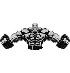 Bodybuilder with dumbbell vector