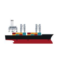 Cargo ship containers export cranes industrial vector