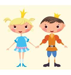 cartoon prince and princess vector image vector image