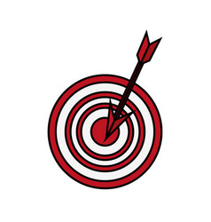 Dart on bullseye icon image vector