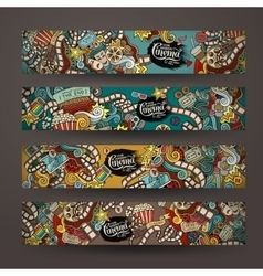 doodles cinema movie design banner vector image