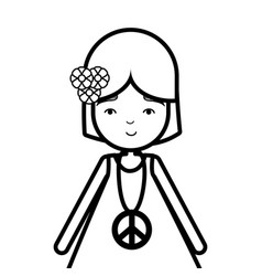 Figure woman peace and love relax vector