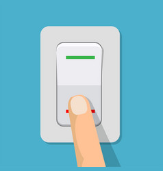 finger presses the button switch vector image