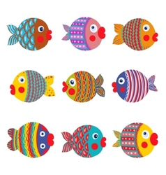 Fish Collection colorful Graphic Cartoon vector image vector image