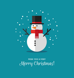 flat snowman icon vector image vector image
