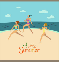 Girls in bikini are running on the beach vector
