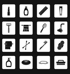 Hygiene tools icons set squares vector