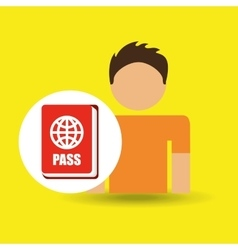 Male character traveler passport id vector