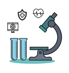 Microscope and test tube flask medical technology vector