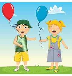 Of Kids Keeping Balloons vector image vector image