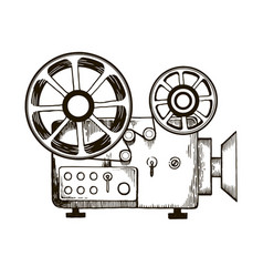 old film projector engraving vector image