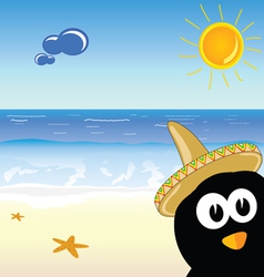 Penguin on the paradise beach vector