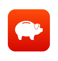 Piggy icon digital red vector
