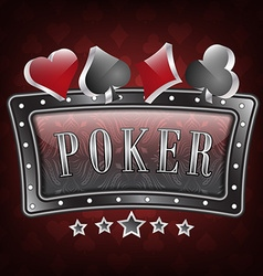 Poker with ornate frame and card symbols vector image