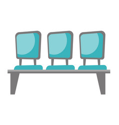 row of blue chairs cartoon vector image vector image