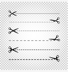 scissors line cut vector image vector image