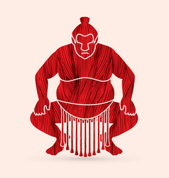Sumo pose sitting ready to fight graphic vector