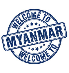 Welcome to myanmar blue round vintage stamp vector