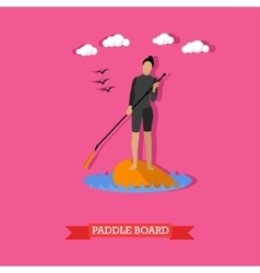 Woman swim on stand up paddle board flat design vector